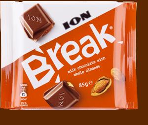 Break milk chocolate with whole hazelnuts
